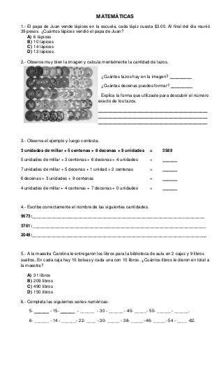 Examen Tercer Grado Primer Bimestre Primer Grado Personalized Items