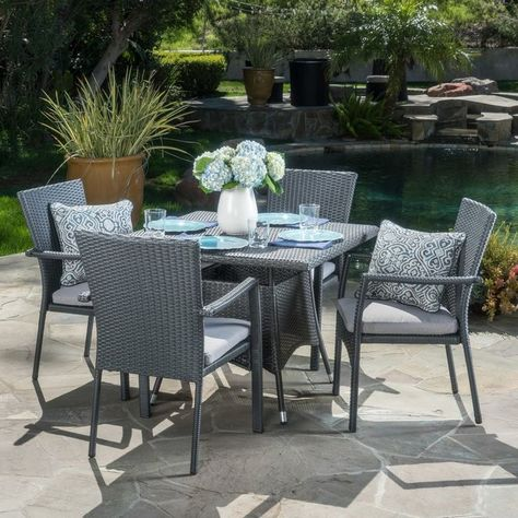 Meniko 5 Piece Rectangle Dining Set With Cushion Wicker Dining