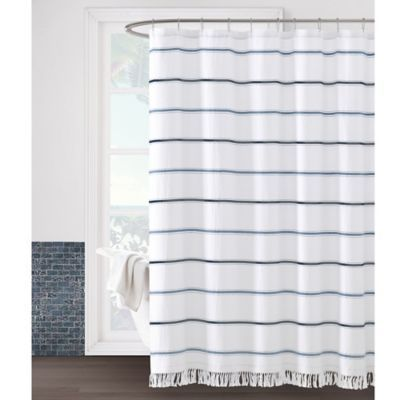 The Naomi Shower Curtain Will Instantly Transform Your Bathroom Into A Mediterranean Seaside Ret Blue Shower Curtains Long Shower Curtains White Shower Curtain