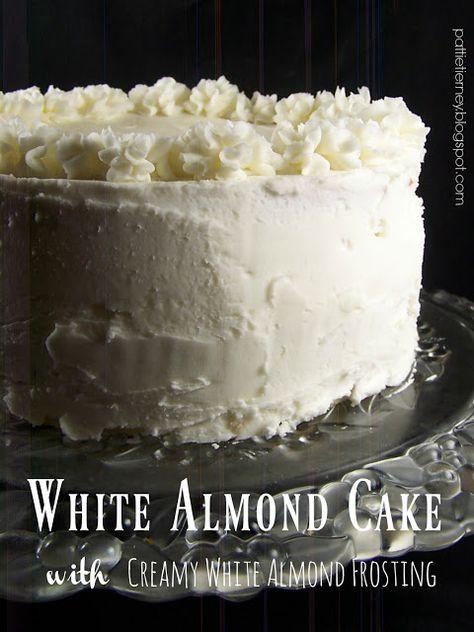 White Cake Recipes 41731 Olla-Podrida: White Almond Cake with Creamy White Almond Frosting Almond Cream Cake Recipe, Almond Frosting, Frosting For White Cake, Wedding Cake Frosting, Almond Cupcakes, White Icing, Köstliche Desserts, Delicious Desserts, Dessert Recipes