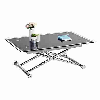 Table Basse Relevable Up Down 2 Verre Et Chrome Table Basse Escamotable Table Basse Table Basse Relevable