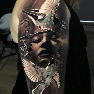 Tattoo Artist Jacob Sheffield Black Grey Portrait Realism Surrealism Tattoo United States Inkppl T Mother Nature Tattoos Nature Tattoos Tattoo Magazines