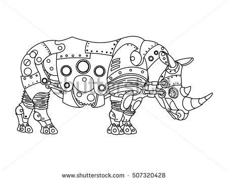 Steampunk Style Rhinoceros Mechanical Animal Coloring Book For Adult Vector Illustration