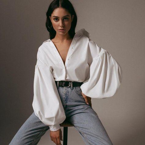 White Black Loose Button Puff Sleeve Streetwear Top