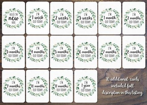 Baby boy Gender Neutral Printed Milestone Cards set of 26 cards Wreath Baby