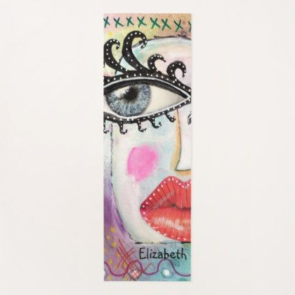 Colorful Bold Lip Quirky Eyes Artsy Fun Cool Pink Yoga Mat Lip Gifts Unique Lips Style Cyo Personalize Whimsical Art Graffiti Original Collage Art