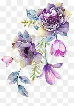 Bright Violet Hand Painted Purple Large Flowers Png Transparent