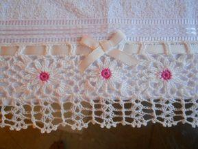 Bico Em Crochet Pata Toalha De Lavabo Barrados De Croche
