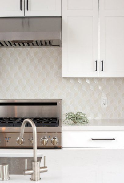 3d Cube Geometric Tiled Splashback Modern Kitchen Backsplash