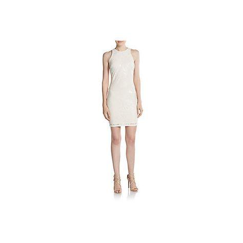 Alexia Admor Swirled Lace Sheath Dress 91 Liked On Polyvore Featuring Dresses Ivory Seq Ivory Cocktail Dress White Lace Cocktail Dress Lace Sheath Dress