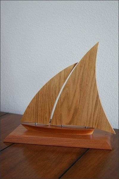 Wooden Sailboat The Jib Front Sail Can Swing Back And Forth Allowing You To Adjust How Want It Look When On Your Tabletop Each Piece Of