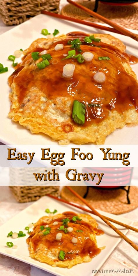 Egg Foo Yung, or Egg Foo Young, is a popular Chinese American dish. A fluffy Chinese Omelet made with eggs, bean sprout Vegetable Egg Foo Young Recipe, Egg Fu Young Recipe, Low Carb Egg Foo Young Recipe, Easy Chinese Recipes, Asian Recipes, Chinese Desserts, Chinese Food, Indonesian Recipes, Best Chinese Dishes