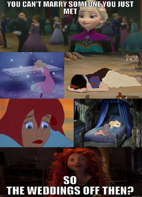 disney the little mermaid ariel cinderella Sleeping Beauty marriage snow white brave Disney Princess frozen elsa Humor Disney, Funny Disney Jokes, Crazy Funny Memes, Really Funny Memes, Disney Quotes, Funny Relatable Memes, Hilarious, Top Funny, Disney Puns
