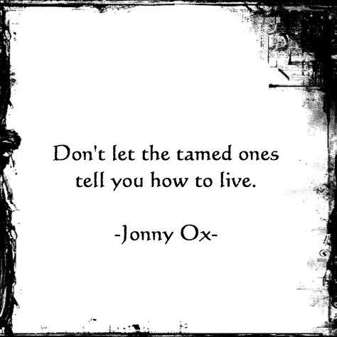 """""""Don't let the tamed ones tell you how to live."""" ~ Jonny Ox"""