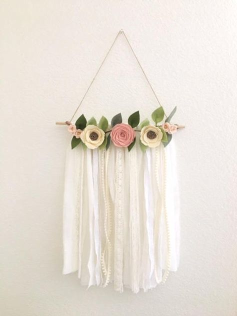 SHABBY CHIC WALL HANGING // Handmade to order out of wool blend felt with a 2 week turnaround time. This shabby chic beauty is the perfect unique addition to any home! Wall hanging features three felt roses in shades of ivory with taupe centers and blush finished with two mini wildflower