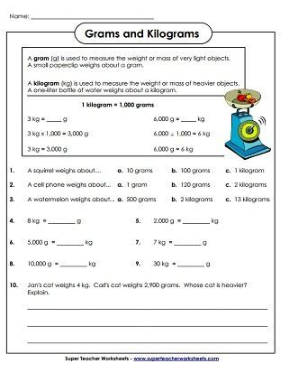 Weight Measurement Worksheet Pdf In 2020 With Images
