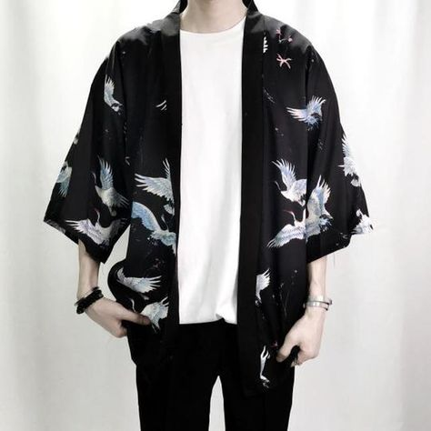 Crane Print Shirts Summer Fashion Men Hip Hop Streetwear Casual Shirts – geekbuyig