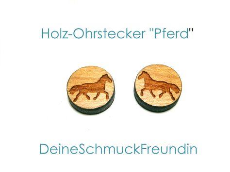 Holzohrstecker - Ohrstecker Pferd - ein Designerstück von DeineSchmuckFreundin bei DaWanda