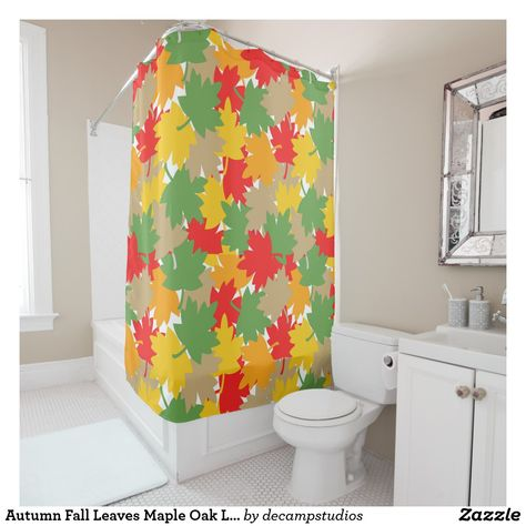 Autumn Fall Leaves Maple Oak Leaf Camouflage Shower Curtain Retro Shower Curtain Modern Shower Curtains Curtains