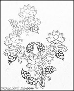 floral embroidery designs drawing