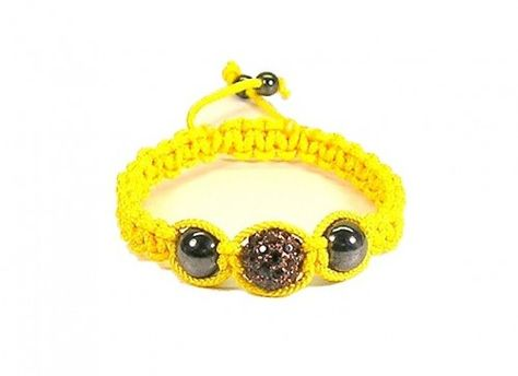 Macrame Bracelet Yellow with Amber Color Pave Bead and Hematite Beads,  $15.00