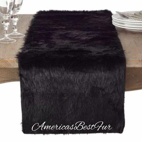 Faux Fur Black Plushy Runner (3'X5')