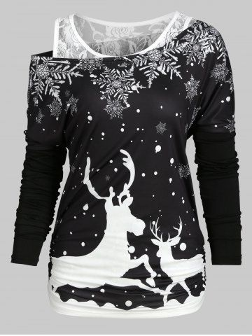 Toddler Long Sleeved Christmas Dresses 2020 Christmas Elk Snowflake Tee and Lace Tank Top Set in 2020 | Lace