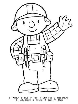 Bob The Builder Coloring Page Color By Numbers Cartoon Coloring Pages Bob The Builder Coloring Pages