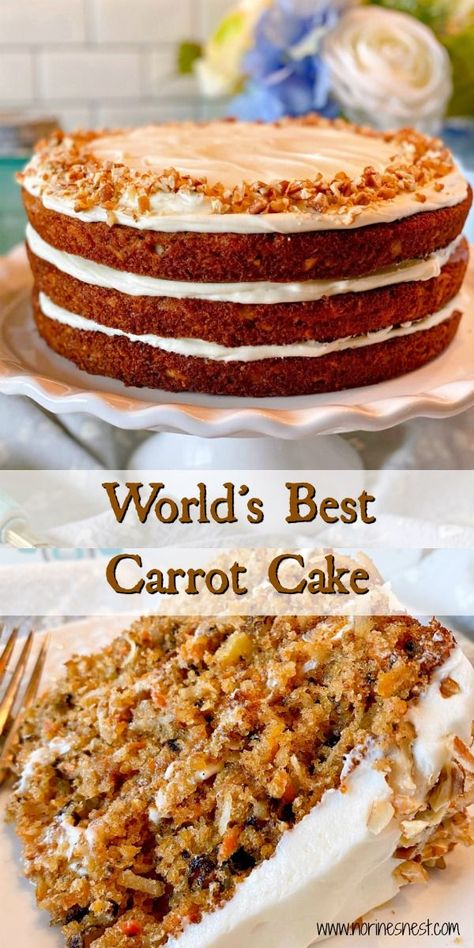 World's Best Carrot Cake Hundreds of have spoken…this is The World's Best Carrot Cake! Layers of moist flavor filled cake with coconut, crushed pineapple, carrots, spices, and nuts come together with a delectable cream cheese frosting. Homemade Carrot Cake, Easy Carrot Cake, Moist Carrot Cakes, Homemade Cakes, Moist Carrot Cake Recipe With Pineapple, Amazing Carrot Cake Recipe, Carrot Spice Cake, Pineapple Cake, Homemade Breads