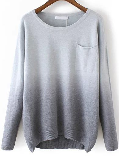 Shop Grey Dip Hem Ombre Pocket Sweater online. SheIn offers Grey Dip Hem Ombre Pocket Sweater & more to fit your fashionable needs.