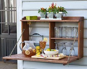 Backless Wall Mount Bar With Fold Down Countertop Outdoor