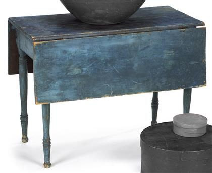 Late Federal Blue Painted Drop Leaf Table Circa 1815 Rectangular Top With Conforming Leaves On Turned Legs E Drop Leaf Table Vintage Drop Leaf Table Leaf Table