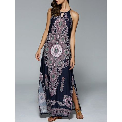 a5a9d9ef8e6 Bohemian Side Slit Tribal Maxi Dress ( 14) ❤ liked on Polyvore featuring  dresses