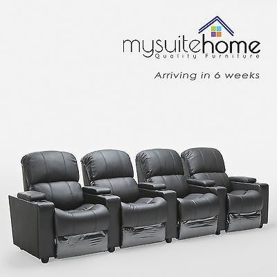 Sophie Brand New Black Leather 4 Seater Recliner Home Theatre L