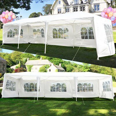 Geniqua 30 Ft W X 10 Ft D Metal Party Tent In 2021 Backyard Tent Patio Wedding Outdoor Tent Wedding