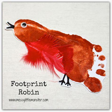 Messy Little Monster: Birds- Make a Footprint Robin