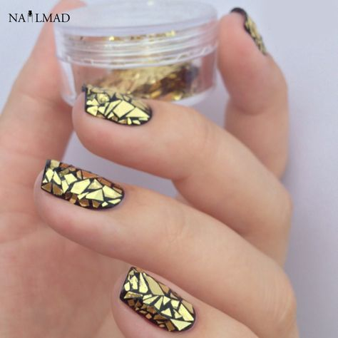 2colors Crushed Shell Glitters Silver Shell Powders Gold Shell Sequins Nail Art Decorations Shattered Glass Nails
