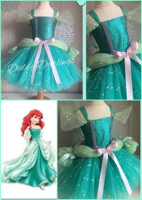 Pink The Little Mermaid Ariel Princess Cosplay New Fluffy Party Fancy Dress Gift