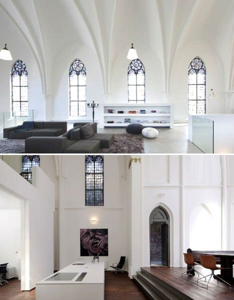Historic Church Built In The Netherlands In 1870 Turned Into Spacious Residence Church Interior Design Church Interior Industrial Loft Design