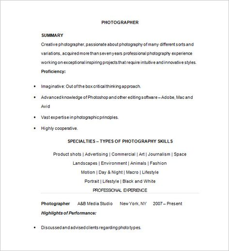 Photographer Resume Template u2013 17+ Free Samples, Examples, Format - professional photographer resume