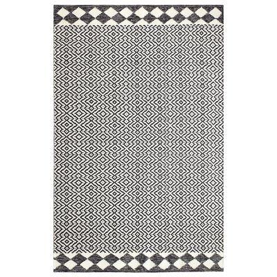 Odeon Geometric Handmade Flatweave Black Indoor Outdoor Area Rug