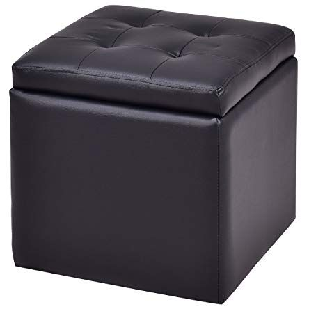 Giantex Pu Storage Ottoman Cube Foot Rest Stool Square Seat Lounge