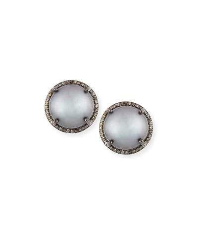 Margo Morrison Pavé Diamond Disc Stud Earrings D3foAkgL