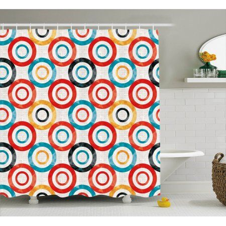 Psychedelic Shower Curtain Retro Trance Pattern Nightclub Theme