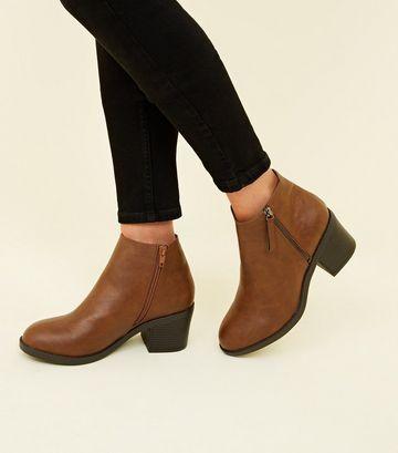 Wide Fit Tan Zip Side Block Heel Ankle