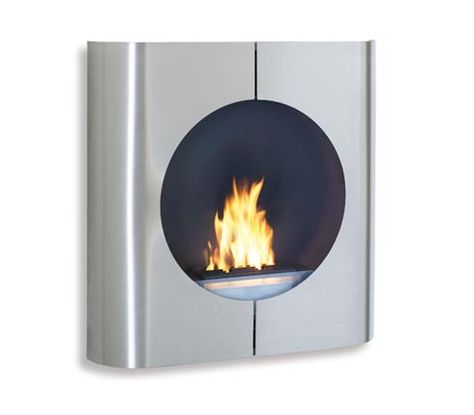 Chimo Fireplace; uses Ethanol fuel, no chimney required.