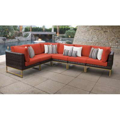 Joss Main Nauvoo Patio Sectional With Cushions Patio Furniture Sets Patio Sectional Wicker Patio Sectional