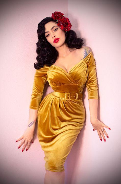 The Gold Velvet Starlet Dress is the ultimate