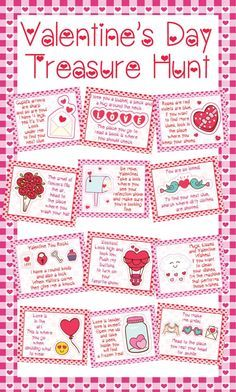 Valentine's Day Treasure Hunt Clues - Valentines Scavenger Hunt Clues - Valentine's Day Printables - Valentines Party Games - Kids Valentine