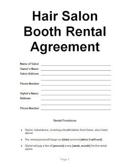 Examples Hair Salon Booth Rental Agreement A Moments Peace